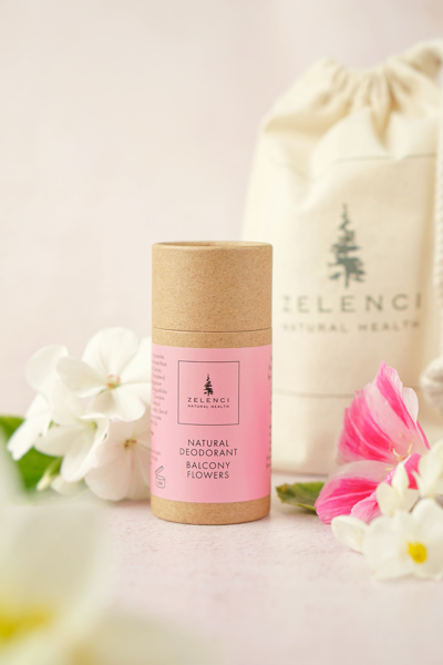 """Picture of Natural Deodorant  """"Balcony Flowers""""  and medium Zelenci Natural Cotton tote bag"""